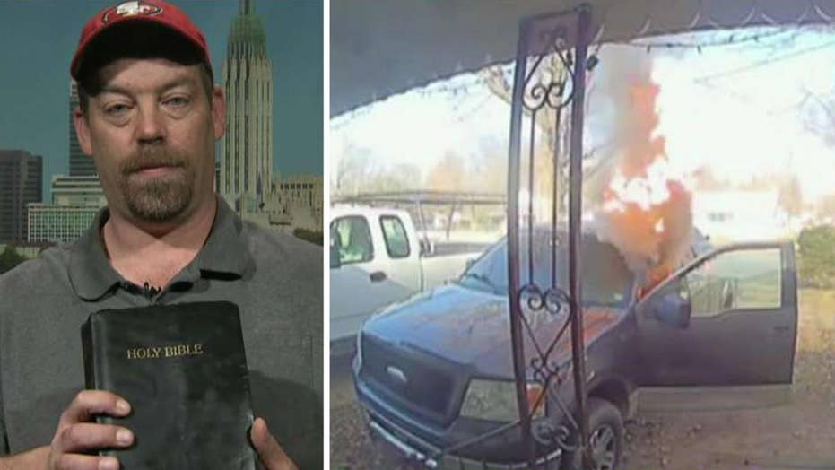 Man's truck goes up in flames but his childhood Bible left inside is unscathed