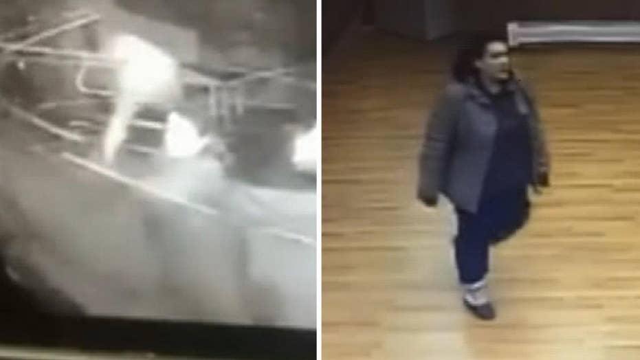 Surveillance cameras capture woman smash her way into police station