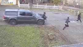 Fleeing pedestrians swiped by truck that sped onto sidewalk in video