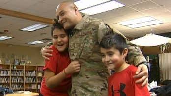 Air Force dad returns from deployment, surprises his two boys at their school