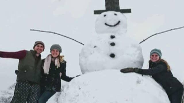 Driver who tried to destroy a 9-foot snowman rams car into the stump at the snowman's base