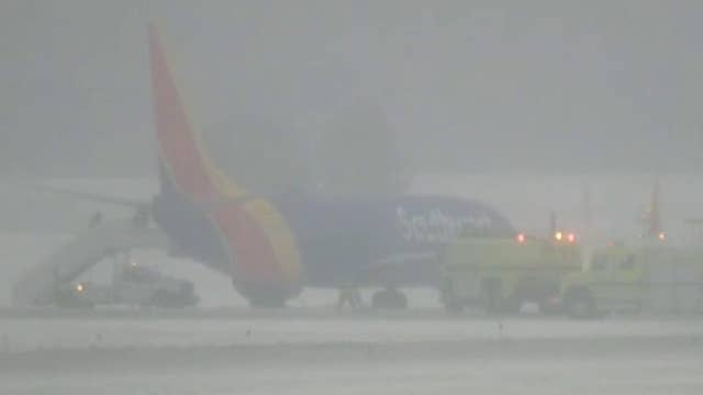 Southwest Airlines plane slides off icy runway after landing in Omaha, Nebraska