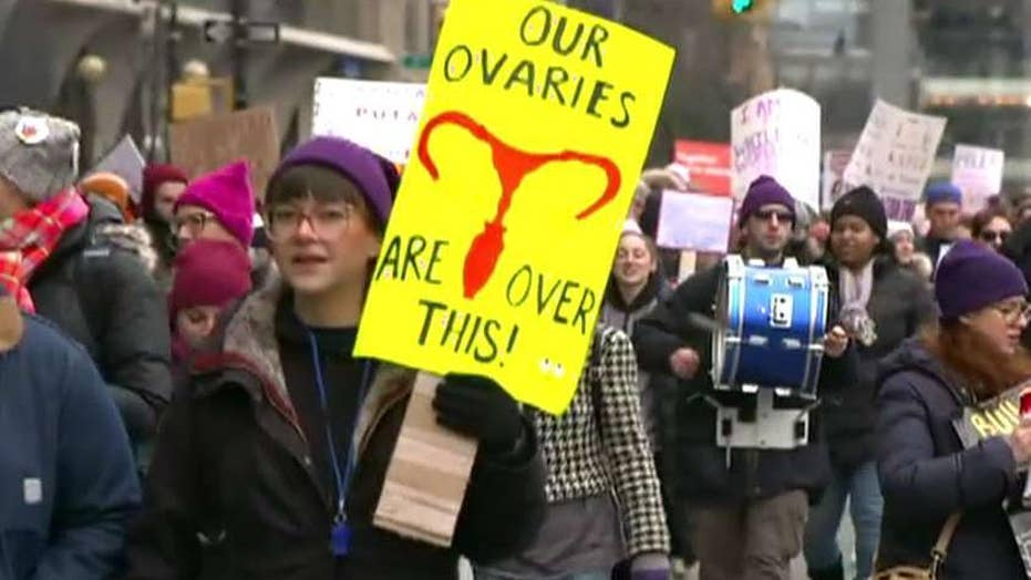 Two dueling Women's March rallies drew thousands of supporters in Manhattan