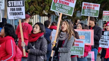California lawmakers, Kamala Harris stand arm-in-arm with striking teachers