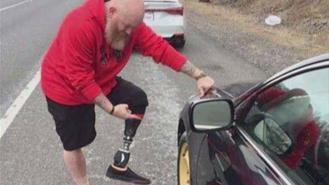Colin Powell praises veteran amputee who helped him fix a flat tire