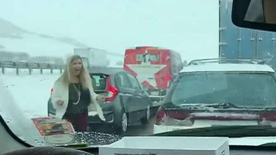 Mother seen dancing to Backstreet Boys during gridlocked traffic