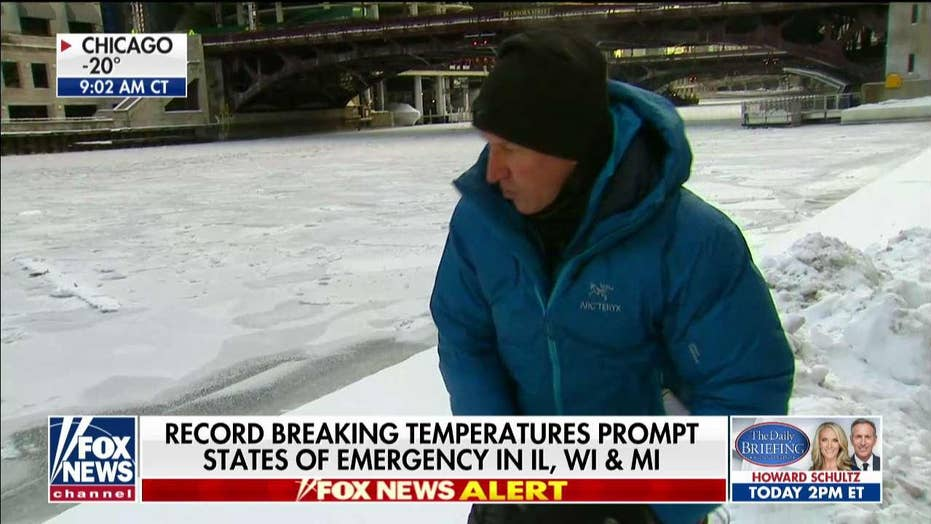 WATCH: Mike Tobin Demonstrates Extent of Frigid Temps in Chicago Along Frozen River