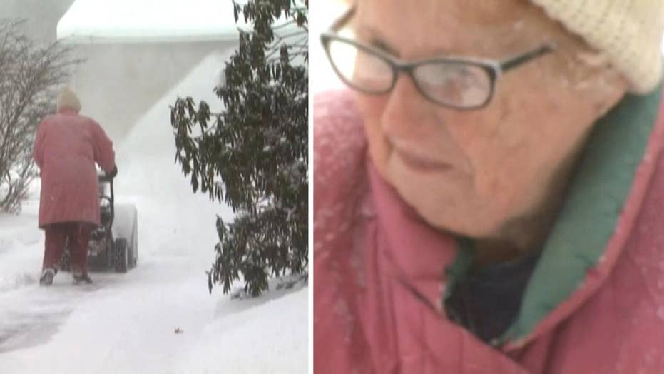 'Snow blowing granny' goes viral for braving subzero temperatures to clear driveway
