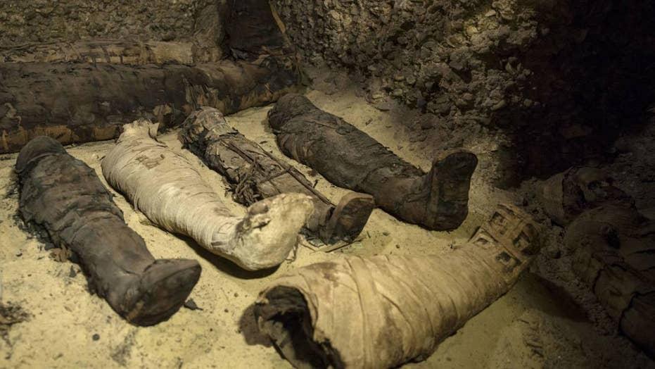 Dozens of human mummies found in Egyptian tombs