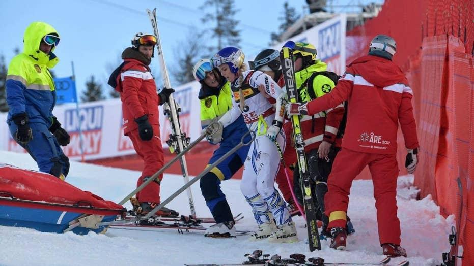 Lindsey Vonn crashes at world championships in Sweden
