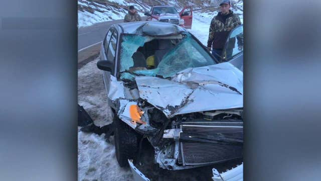 College sophomore lucky to be alive after boulder shatters her windshield