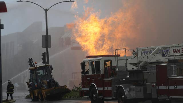 Powerful gas explosion sparks three alarm fire in San Francisco