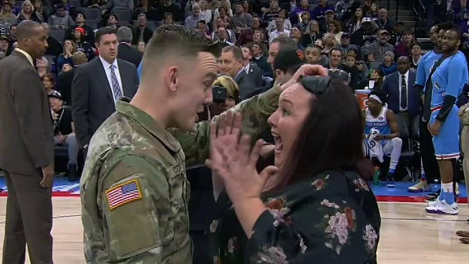 Soldier surprises his mother at Sacramento Kings game