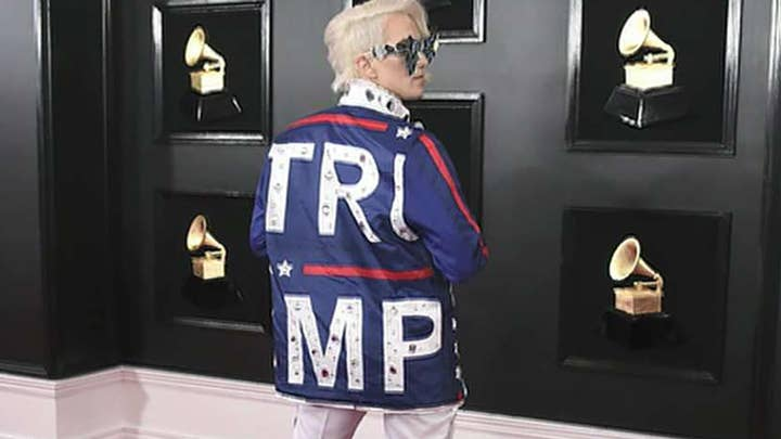 Ricky Rebel's pro-Trump outfit makes a splash on the Grammys red carpet