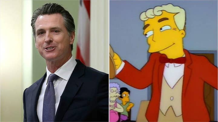 Gavin Newsom talks state's high-speed rail decision, gets compared to 'The Simpsons' character