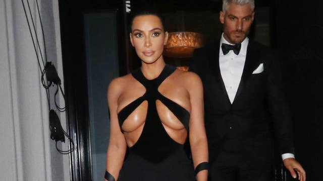 Kim Kardashian invites wardrobe malfunction in vintage gown