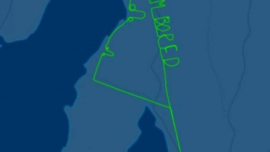 An Australian pilot spells out the words, 'I'm Bored' during a 2-hour test flight