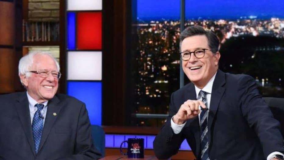 Stephen Colbert jokes about Vermont Senator Bernie Sanders officially joining the crowded 2020