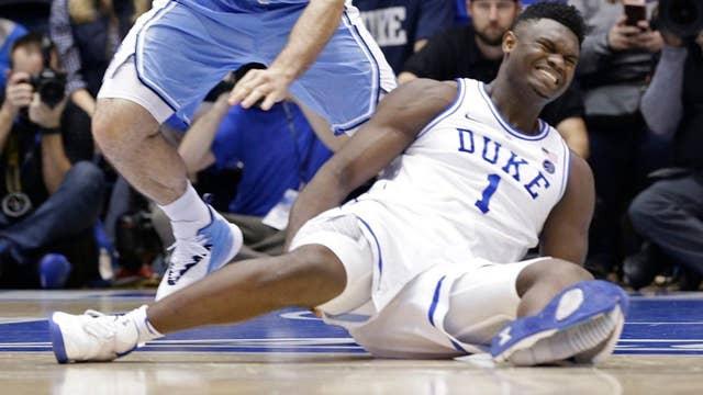 Nike 'working to identify issue' after Duke star Zion Williamson sprains knee when shoe bursts open