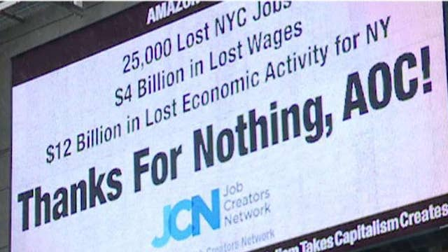 Conservative group bashes Rep. Ocasio-Cortez over Amazon pullout with Times Square billboard