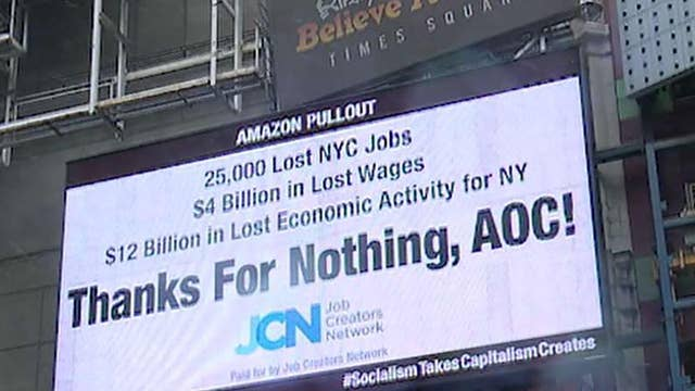 'Thanks for Nothing, AOC!' Billboard battle heats up over Amazon's NYC exit