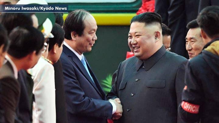 Kim Jong Un arrives at Vietnam railway station ahead of summit with President Trump