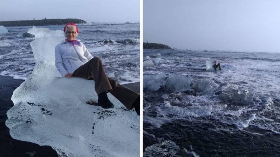Texas grandmother drifts out to sea after posing on 'iceberg throne'