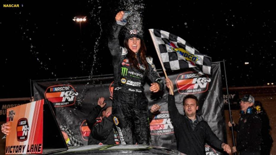 Rising female NASCAR star wins race in Las Vegas on last-lap