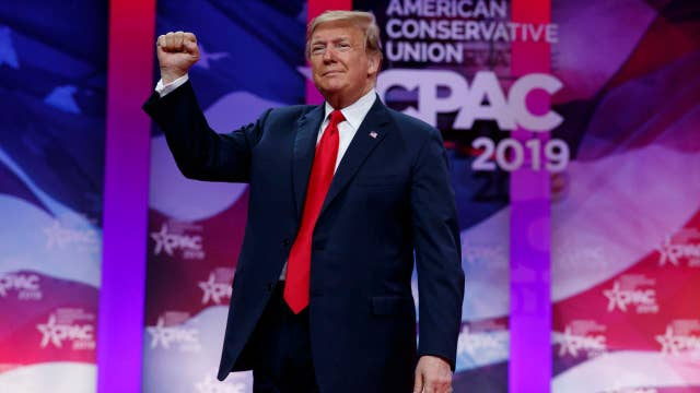President Trump mocks the Green New Deal while speaking at CPAC