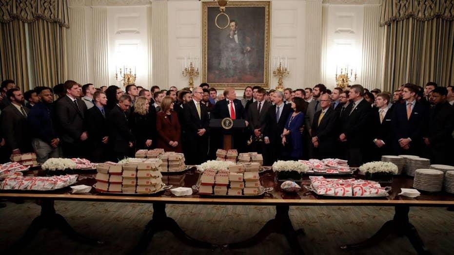 Trump serves fast food to North Dakota State Bison football team at White House
