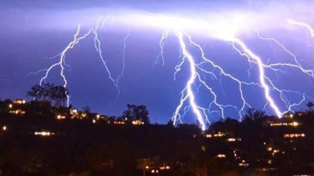 Lightning strikes in skies across Southern California