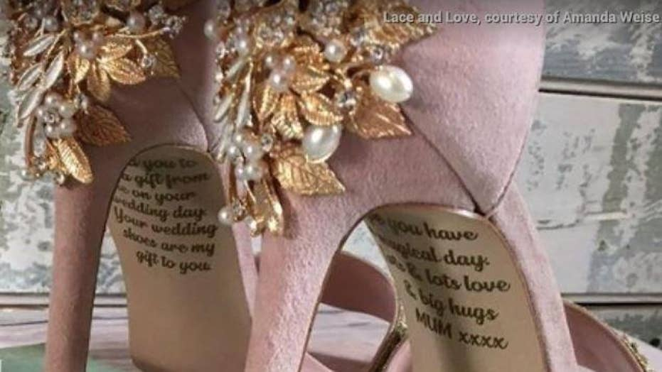 A bride in England is surprised with a secret message on her wedding heels from her late mother