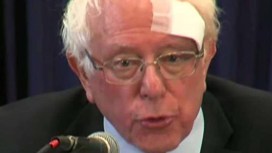 Bernie Sanders cuts head on shower door
