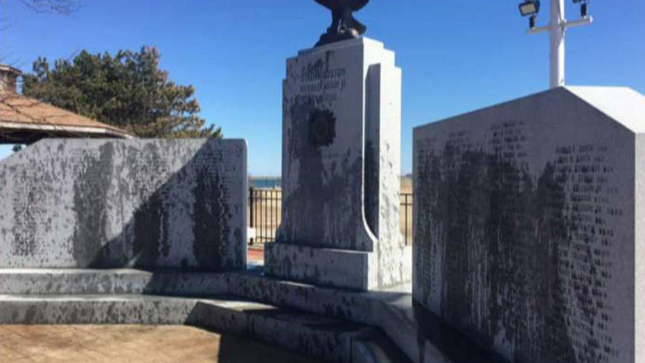 Vandals target WWII memorial in Boston