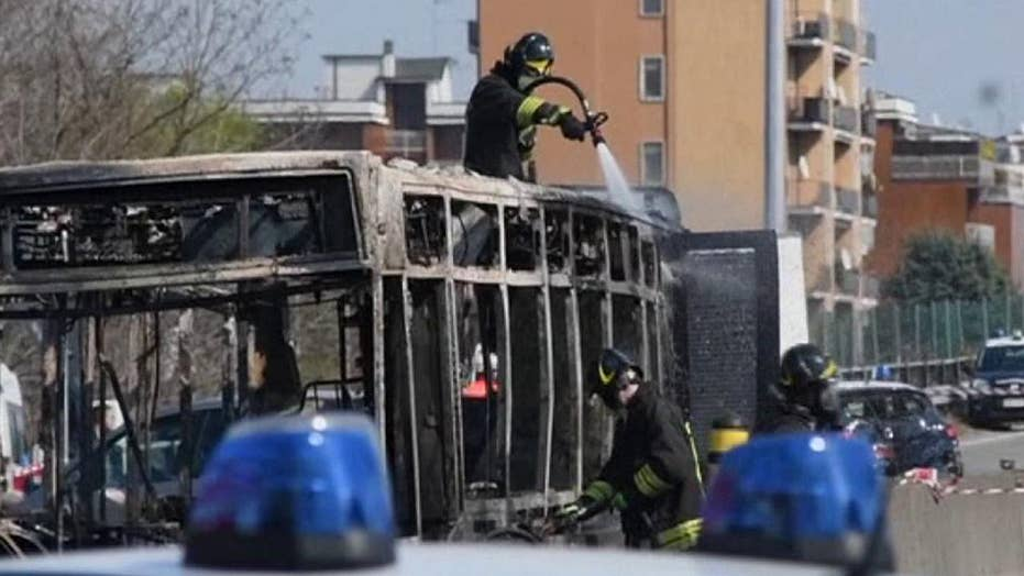 Raw video shows the aftermath of bus fire started by hijacker