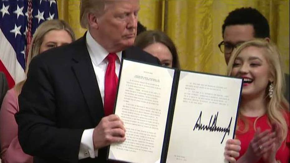 President Trump signs an executive order to protect free speech on college campuses