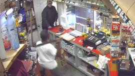WATCH: Store clerk's machete fends off knife-wielding robbery suspects