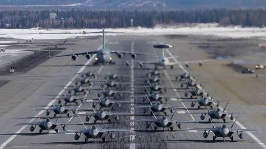 Air Force squadrons showcase 'overwhelming combat airpower' during elephant walk