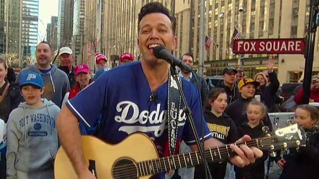 Lucas Hoge performs 'Take Me Out to the Ball Game' to kick off MLB opening day