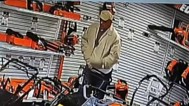 Raw video: California shoplifter hides chainsaw in his pants