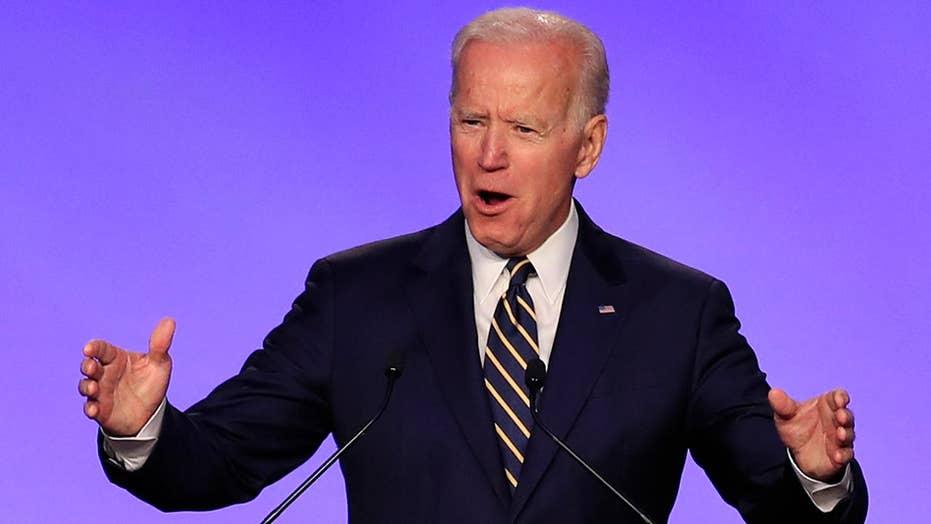 Biden makes hugging joke during speech in wake of allegations