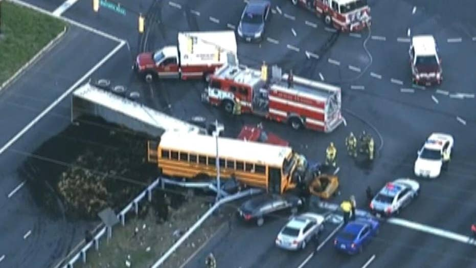 Aerials show first responders on scene of deadly crash involving school bus in Maryland