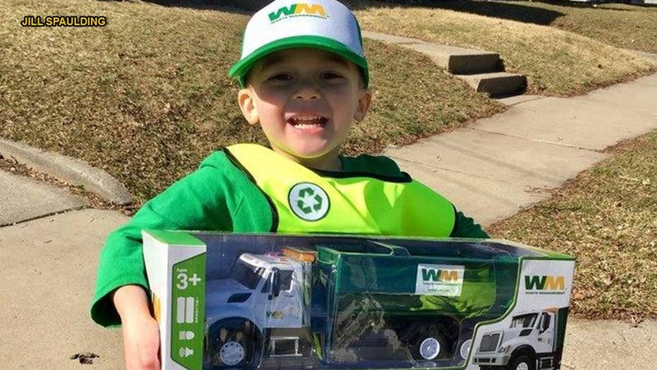 Boy who loves cleaning up trash gets birthday surprise from Waste Management crew