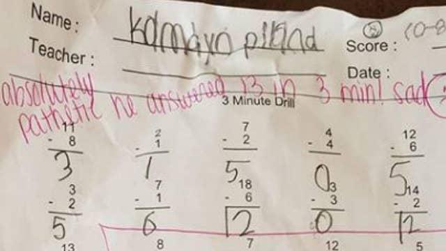 Harsh feedback written on a second grader's math assignment has gone viral