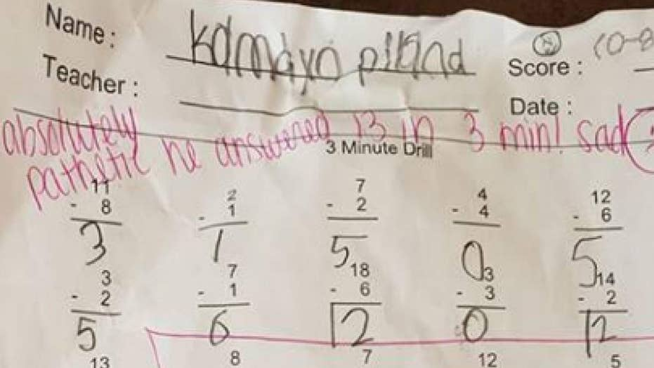 Harsh feedback written on a second grader's math assignment has gone viral