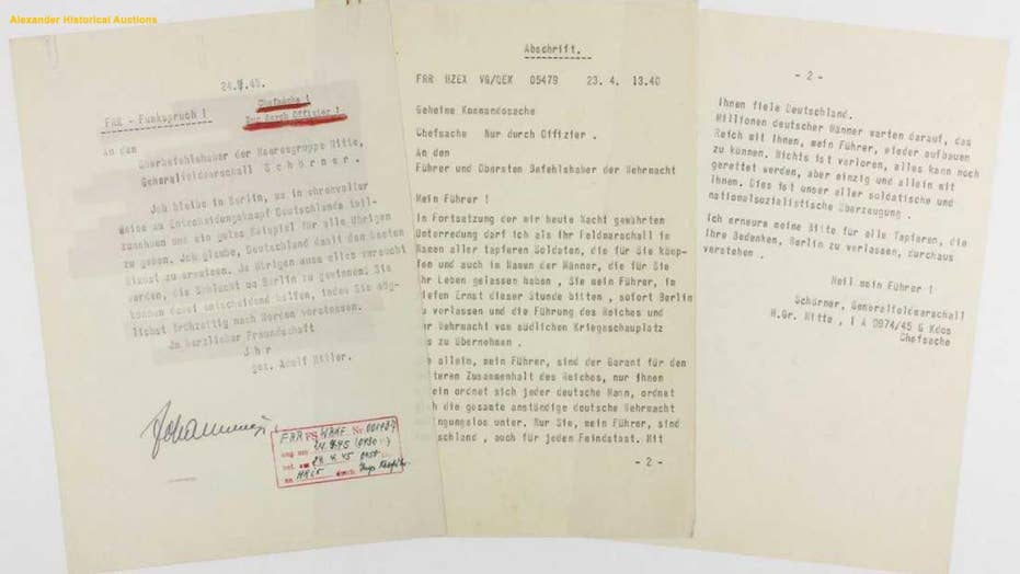 Adolf Hitler's 'suicide note' goes up for auction