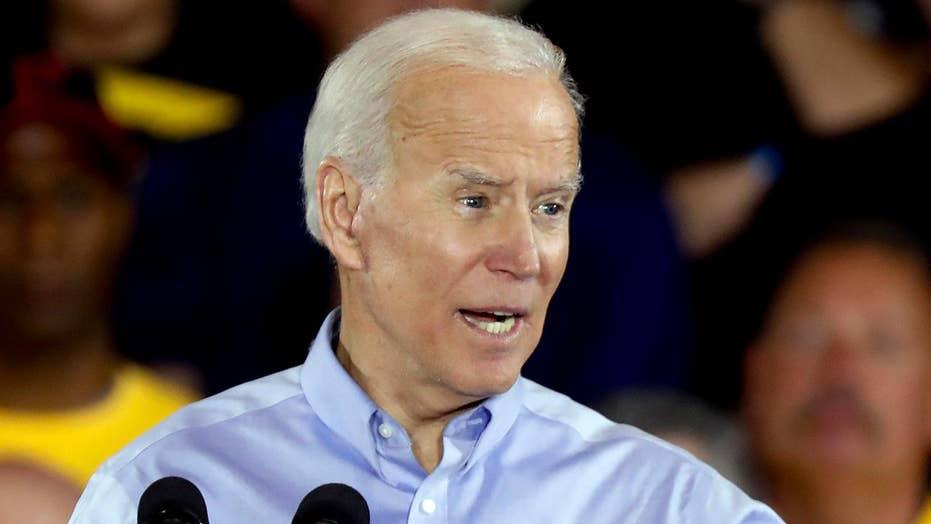 Former Vice President Joe Biden speaks to supporters in Cedar Rapids, Iowa