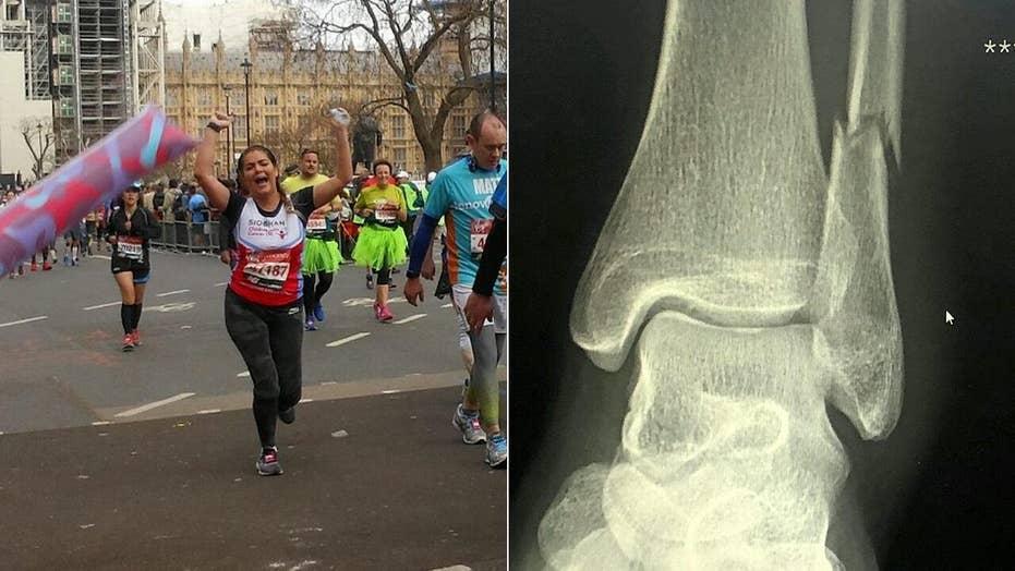 Woman runs 18 miles of London Marathon on broken ankle