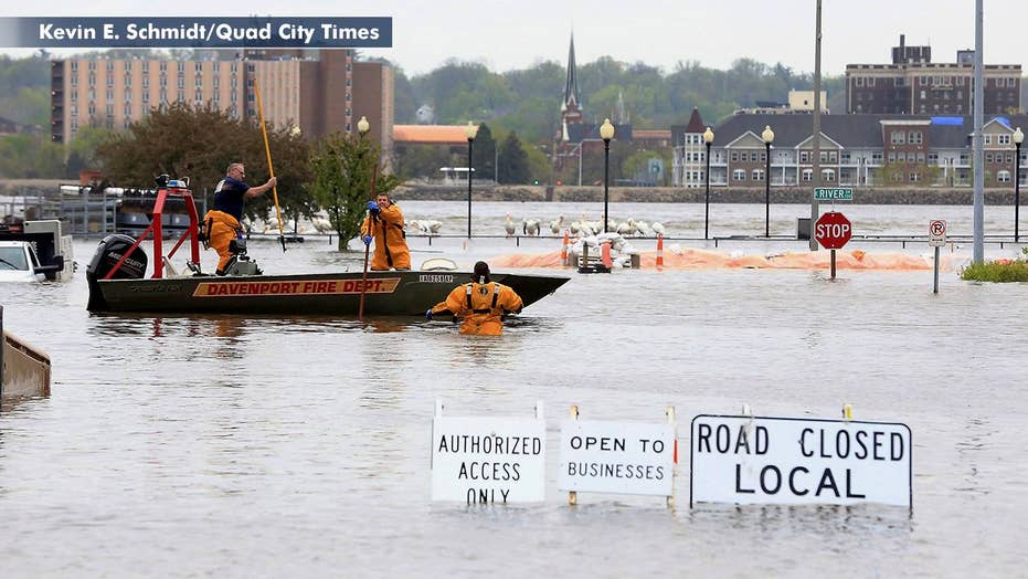 Parts of Iowa city under water as heavy rain causes major flooding in Midwest