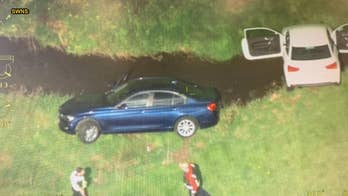 Police chase ends with cars crashing into stream